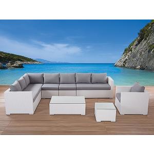 Beliani Kerti bútor szett - Rattan lounge párnákkal - 23 db-os - XXL - Fehér