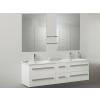 Beliani Fürdoszoba bútor + két mosdó + két tükör - Fürdoszoba szekrény - MADRID fehér