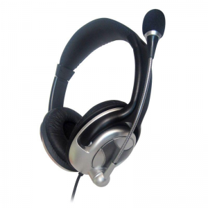 Gembird microphone . stereo headphones with volume control, black-silver