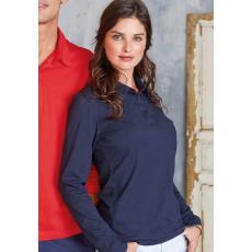 KARIBAN hosszúujjú női galléros póló, sötétkék (Kariban hosszúujjú női galléros póló, sötétkék)