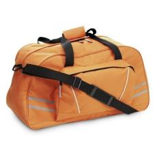 Sport-, utazótáska fényvisszaverõ csíkkal, narancs (Sport- és utazótáska nagy elsõ zsebbel,)