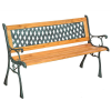 HAZRAVALÓ Kerti pad rácsos háttámlával és fa ülőkével öntöttvas kerettel 128 cm széles