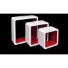 TSIDEEN Polc 3 részes polckészlet MDF anyagból white and red retro stílus fehér piros színben
