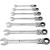 Toolcraft Racsnis gyűrűs villáskulcs készlet csuklóval, 7 részes, kulcstávolság 8 - 19 mm, TOOLCRAFT 1314022