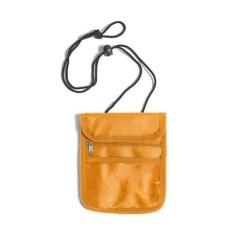 Nyakbaakasztható utazótárca, narancs (Utazótárca nyakpánttal, tépőzáras lezárással, egy cipzáras)