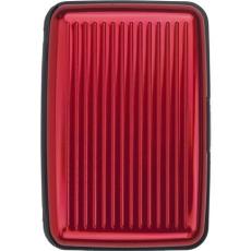 Névjegy- és hitelkártya tartó, műanyag, piros (Névjegy- és hitelkártyatartó hét belső zsebbel,)