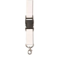 Csatos nyakpánt, kulcstartó, fehér (Csatos nyakpánt cseppkarabíner kulcstartóval. Méret: 80 × 2,5 ×)