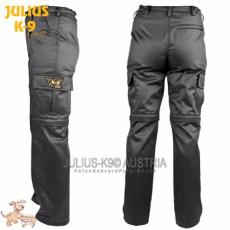 Julius-K9 K9 pamut nadrág, cipzározható szárral - impregnált, fekete / méret 44