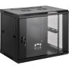 19-os fali rackszekrény, hálózati szerverszekrény, zárható ajtóval 600 x 635 x 450 mm, fekete 12 HE Intellnet (RAL 9005) 711906