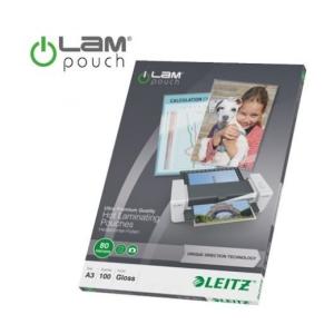 """Leitz Meleglamináló fólia, 80 mikron, A3, fényes, UDT technológiával, LEITZ """"iLam"""" (100 db)"""