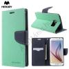 Mercurycase Mercury Fancy Diary tok álló, bőr (FLIP, mágneses, oldalra nyíló, bankkártya tartó, asztali tartó funkció) CYAN [Samsung Galaxy S6 (SM-G920)]