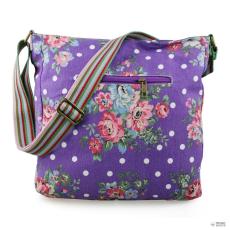 L1104F - Miss Lulu London szögletes táska Flower Polka Dot lila