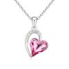Szív nyaklánc pink színű Swarovski kristállyal, ródium bevonattal + AJÁNDÉK DÍSZDOBOZ (0080.)