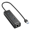 Sharkoon USB Hub - Aluminium Hub +RJ45 (Fekete; 3port USB3.0 + 1port RJ45) (4044951016983)