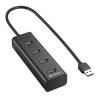 Sharkoon USB Hub - Aluminium Hub (Fekete; 4port; USB3.0) (4044951016976)