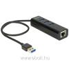 DELOCK USB 3.0-s elosztó 3 porttal + 1 Gigabit LAN-port 10/100/1000 Mb/s