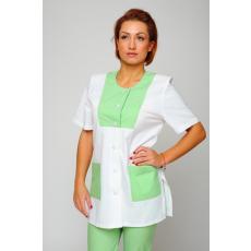 Csillagdivat Tunika egyenes vonalú szögletes zöld díszítésű gombos (Női munkaruházat fehér)