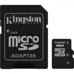 Kingston MicroSDHC memóriakártya, 8GB, Class 4 + adapter SD (SDC4/8GB)