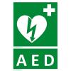 Defibrillatorok.hu - Magyarország Defibrillátor jelző matrica AED felirattal (15x25 cm)