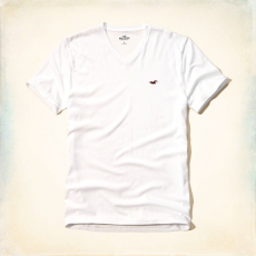 Hollister póló- fehér, v nyakú