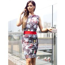 Meringue fashion AKCIÓ színes olasz motoros mintázatú nõi ruha