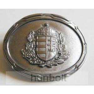 Ovális koszorús címer ezüst övcsat 8X6,5 cm