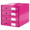 Leitz Irattároló, laminált karton, 4 fiókos, LEITZ Click&Store, rózsaszín