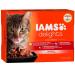 IAMS Delights Adult szószban 12 x 85 g - Szárazföld & tenger mix