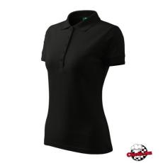 Fekete színű női galléros piké póló