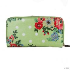 Miss Lulu London L1109F - Miss Lulu Oilcloth pénztárca Flower Polka Dot zöld