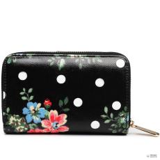 Miss Lulu London L1580F - Miss Lulu kicsi Oilcloth pénztárca Flower Polka Dot fekete