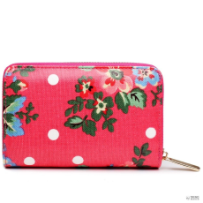 Miss Lulu London L1580F - Miss Lulu kicsi Oilcloth pénztárca Flower Polka Dot Plum