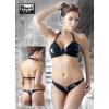 Nyakpántos, fűzős, lakk bikini (fekete) (S)