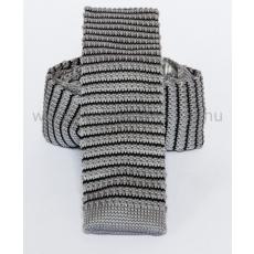 Prémium kötött nyakkendõ - Szürke-fekete csíkos