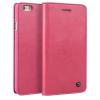 QIALINO Classic iPhone 6 oldalra nyíló eredeti bőr flip tok, rózsaszín