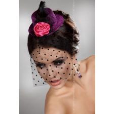 Lívia Corsetti Sötét pink mini kalap hajdísz fekete fátyollal, tolldísszel, szatén rózsával erotikus ajándék