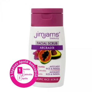 Jimjams Tropical Spa Avokadó és Papaya arcradír, 50 ml