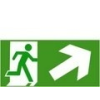 Menekülési út lépcsőn jobbra fel (TÁBLA)