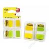 3M POSTIT Jelölőcímke,  műanyag, 2x50 lap, 25x43 mm, 3M POSTIT, sárga és zöld (LP680YG2)