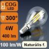 LED lámpa E14 Filament (4Watt/300°) Kisgömb - természetes f.