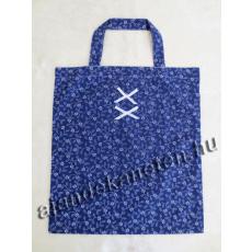 Kékfestő motívumos táska masni dísszel 35x40 cm