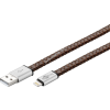 Goobay USB kábel 2.0 – Apple lightning csatlakozóval 20cm barna (eredeti bőr borítású)