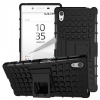 Sony Xperia Z5, Műanyag hátlap védőtok, kitámasztóval és szilikon belsővel, fekete