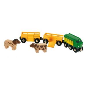 BRIO vonat mezőgazdasági állatszállító a két kocsi, tehenek, lovak