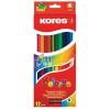 """KORES Színes ceruza készlet, kétvégű, háromszögletű, KORES """"Duo"""", 12 különböző szín"""