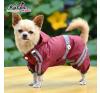Kutyaruha, kapucnis vízálló esőkabát bordó, háthossz 32 cm kutyaruha