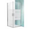 Roltechnik Tower Line TCO1 aszimmetrikus dupla nyílóajtó zuhanykabin 110X120, ezüst profillal, csíkos üveggel