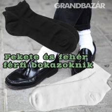 Grandbazár Fekete és fehér férfi pamut bokazokni 3 pár/csomag 39-43 és 43-46 méretben