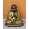 Buddha-kínai-meditáló imafüzérrel/bronz-arany