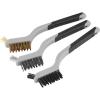 EXTOL PREMIUM EXTOL drótkefe klt., 3 db: nylon-, réz- és rozsdamentes acél szál, 3×8 sor, 180mm, kétkomponensű TPR+PP puha műanyag nyél
